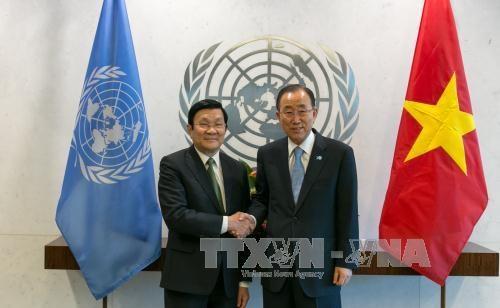 越南国家主席张晋创会见联合国秘书长潘基文 hinh anh 1