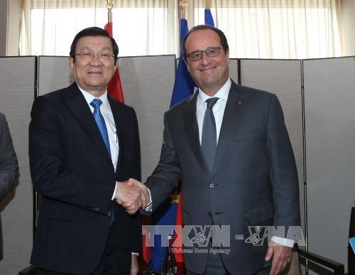 越南国家主席张晋创会见法国总统弗朗索瓦·奥朗德 hinh anh 1