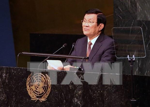 国家主席张晋创访问美国联合通讯社 hinh anh 1
