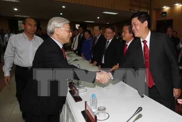 阮富仲总书记:越南党和国家一直为企业和企业家发展创造最为便利的条件 hinh anh 1