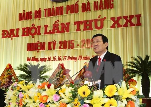 张晋创主席出席越共岘港市第二十一次代表大会 hinh anh 1