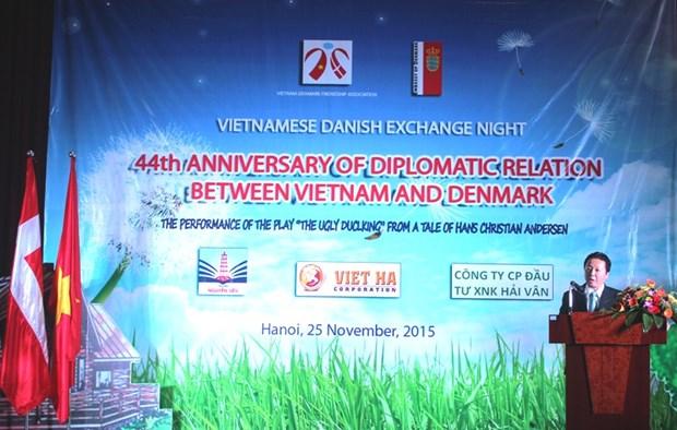 越南丹麦交流晚会在河内举行 hinh anh 1