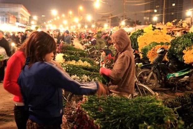 广霸花卉夜市——河内市的独特集市 hinh anh 1