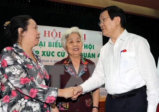 越南国家主席张晋创接触胡志明市选民 hinh anh 1