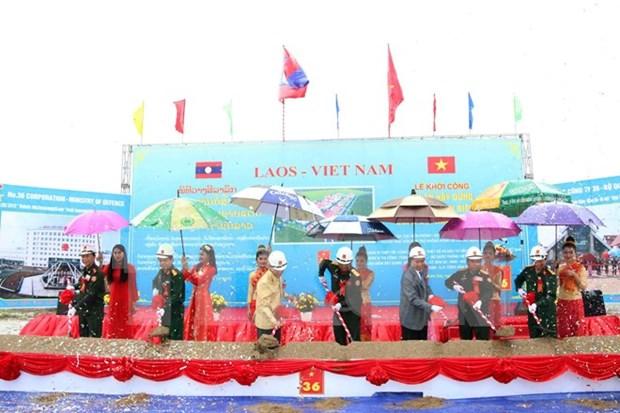 越南援建的老挝人民军边防专业培训学校正式动工 hinh anh 1
