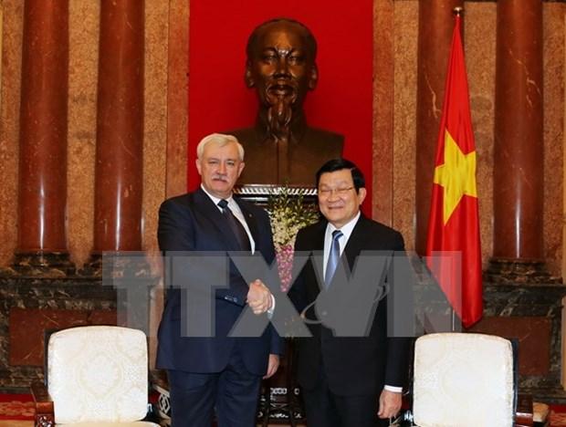 越南国家主席张晋创会见俄罗斯圣彼得堡市市长波尔塔夫琴科 hinh anh 1