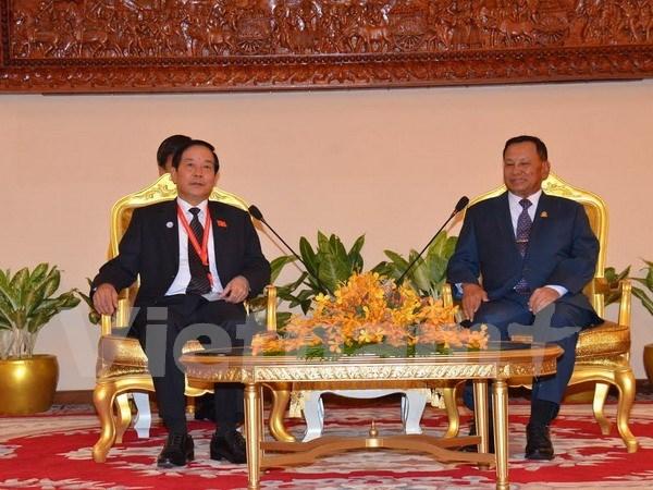 柬埔寨参议院议长赛冲会见越南国会对外委员会主任陈文恒 hinh anh 1