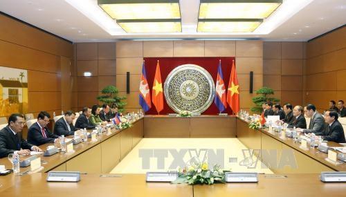 越南国会主席阮生雄与柬埔寨参议院主席赛宗举行会谈 hinh anh 1