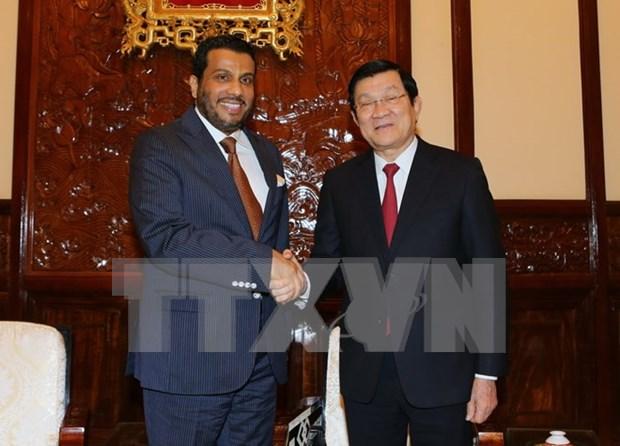 越南国家主席张晋创接见卡塔尔驻越大使 hinh anh 1