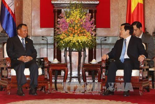 国家主席张晋创会见柬埔寨参议院主席赛宗 hinh anh 1
