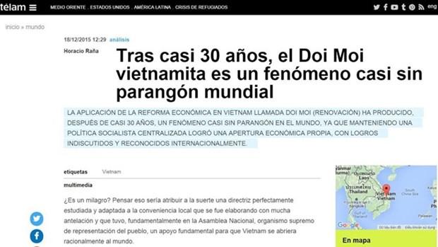 阿根廷美洲通讯社称赞越南革新事业成就 hinh anh 1