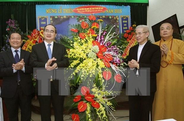 越南祖国阵线中央委员会主席向天主教团结委员会致以圣诞节祝福 hinh anh 1