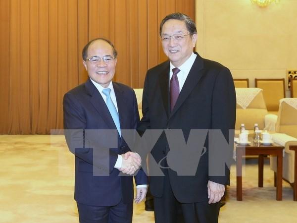 国会主席阮生雄会见中国政协主席俞正声 hinh anh 1
