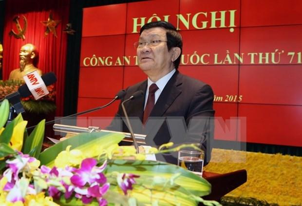 张晋创主席出席越南第71次全国公安会议 hinh anh 1