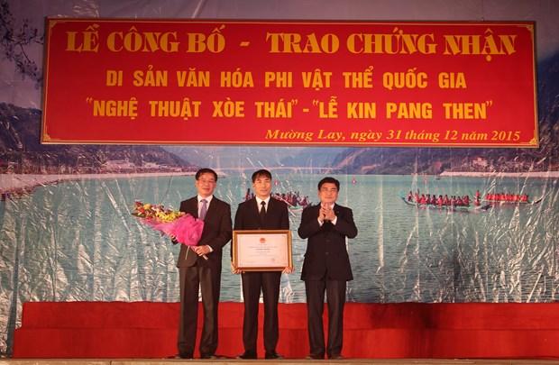 """奠边省泰族""""金邦天""""节和""""群人舞""""艺术入选国家级非物质文化遗产名单 hinh anh 1"""