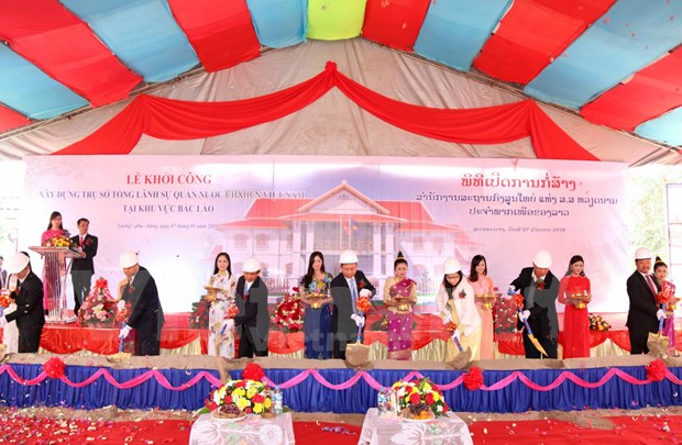 越南驻老挝北部各代表机构总部在老挝动工兴建 hinh anh 1