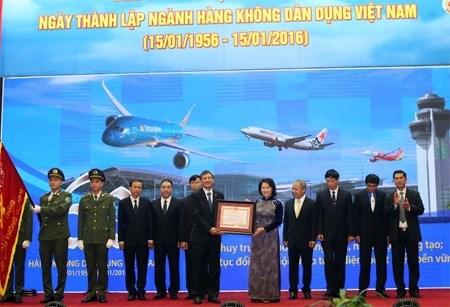 越南民航部门举行成立60周年纪念典礼 hinh anh 1