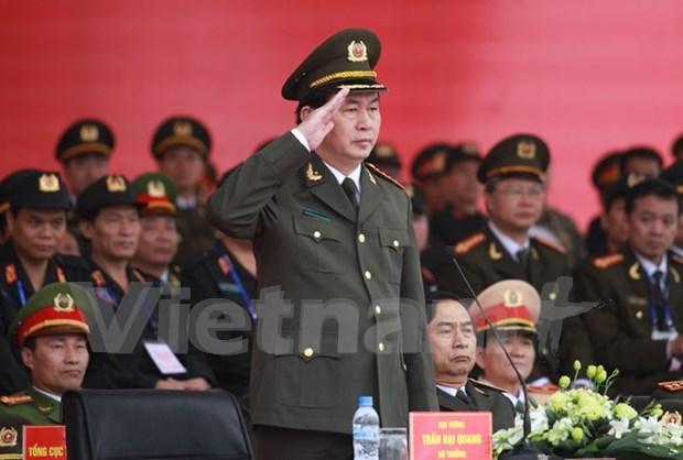 越南举行越共十二大安保誓师大会 确保大会绝对安全 hinh anh 1