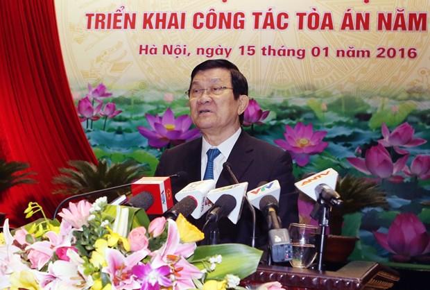 越南国家主席张晋创:树立起法院良好形象 hinh anh 1