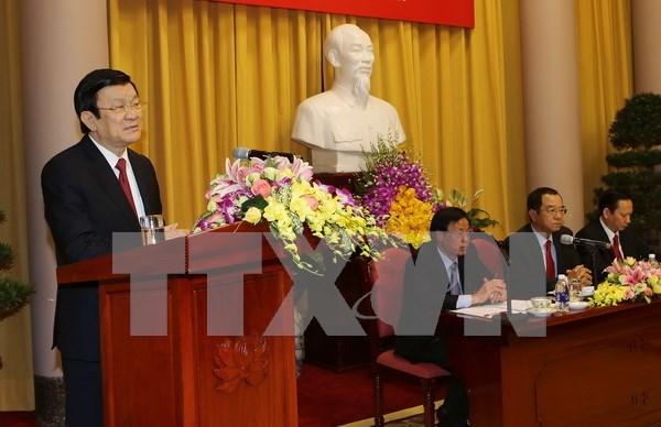 越南国家主席张晋创出席国家主席办公厅2015年工作总结会议 hinh anh 1
