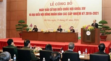 越南国会和各级人民议会换届选举将于5月22日举行 hinh anh 1