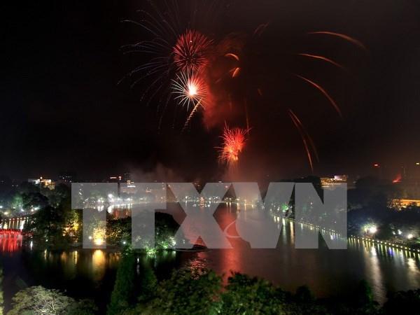 河内市将在30个地点放烟花喜迎2016年猴年 hinh anh 1