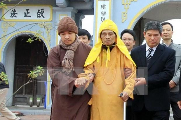 河内市领导向越南佛教协会会长释普惠老和尚拜年 hinh anh 1