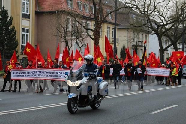 旅德越南人举行和平示威游行 抗议中国在东海的行为 hinh anh 1