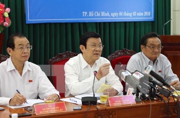 越南国家主席张晋创会见胡志明市企业代表 hinh anh 1