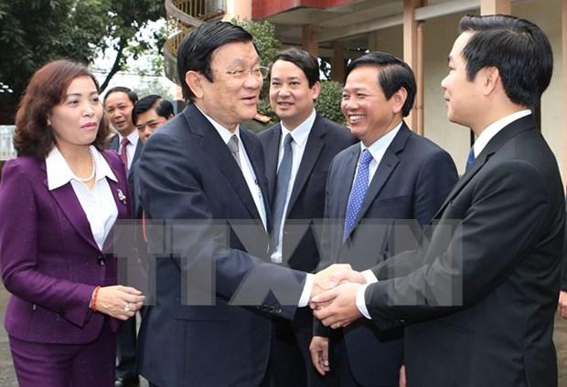 越南国家主席张晋创莅临宁平省调研 hinh anh 1