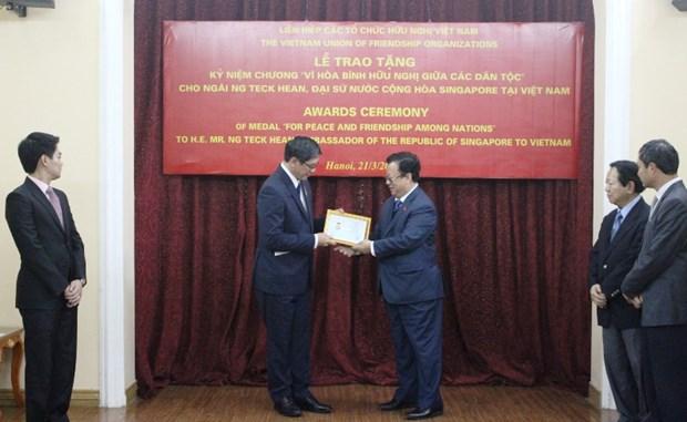 """越南授予新加坡驻越大使""""致力于各民族和平友谊""""纪念章 hinh anh 1"""