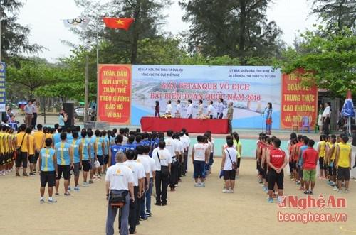 2016年全国沙滩地掷球锦标赛在宜安省拉开序幕 hinh anh 1