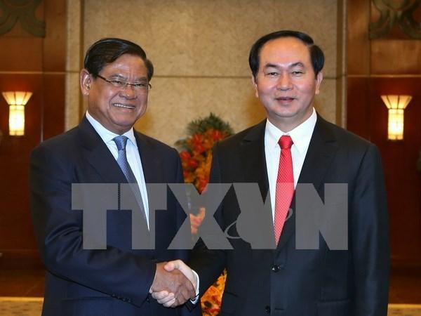 越南国家主席陈大光会见柬埔寨副首相韶肯 hinh anh 1