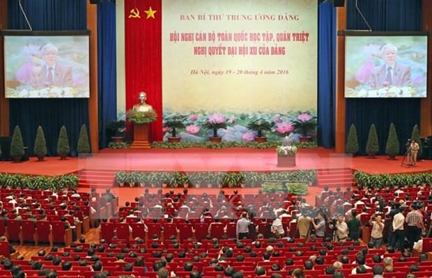 全国干部学习贯彻落实越共十二大决议会议在河内召开 hinh anh 1