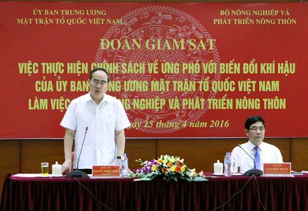 越南祖国阵线中央委员会主席阮善仁:节约水资源 应对气候变化 hinh anh 1