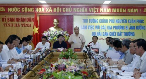 越南政府总理阮春福同出现海产大规模死亡事件的地方举行会议 hinh anh 1