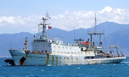 俄太平洋舰队水文测量船访问庆和省 hinh anh 1