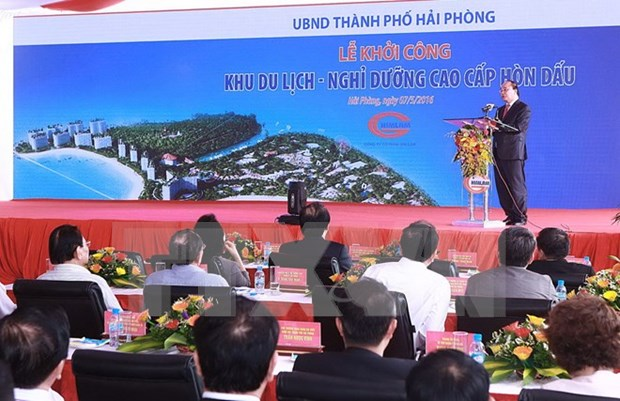 阮春福总理出席海防市绕岛投资总额5万亿越盾的休闲旅游度假区项目动工仪式 hinh anh 1