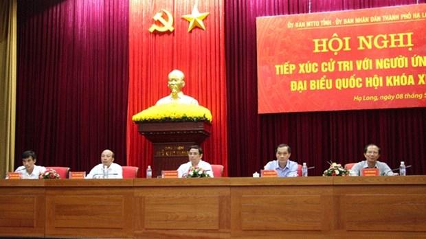 越南第十四届国会代表候选人会见接触广宁省选民 hinh anh 1