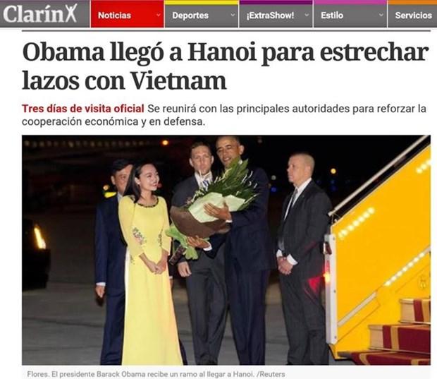 阿根廷和意大利媒体:美国总统奥巴马开启对越南的访问 hinh anh 1
