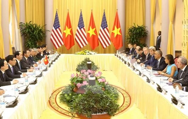 越南国家主席陈大光与美国总统奥巴马进行会谈 hinh anh 1