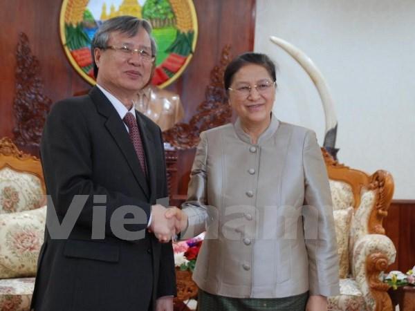 老挝国会主席巴妮·雅陶都会见越共中央检查委员会主任陈国旺 hinh anh 1