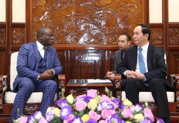越南国家主席陈大光会见前来递交国书的各国新任驻越大使 hinh anh 7