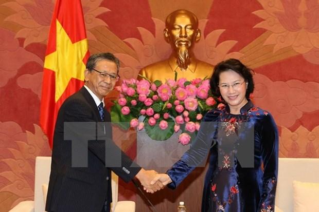 越南国会主席阮氏金银会见日本驻越大使大岛浩 hinh anh 1