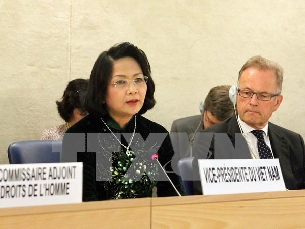 越南国家副主席邓氏玉盛出席联合国人权理事会第32次会议 hinh anh 1