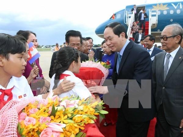 越南国家主席陈大光抵达金边开始对柬埔寨进行国事访问 hinh anh 1