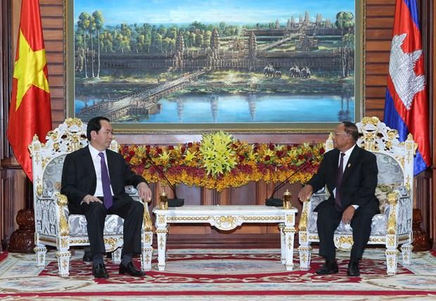 国家主席陈大光会见柬埔寨领导人 hinh anh 2