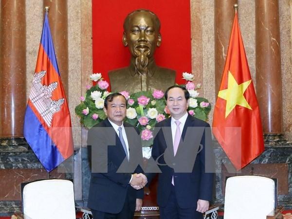 国家主席陈大光会见柬埔寨国务兼外交国际合作部大臣布拉索昆 hinh anh 1