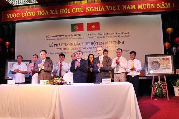 """""""越南-葡萄牙联合发行邮票""""的邮票发行仪式在会安举行 hinh anh 1"""