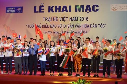 """""""海外青年侨胞与民族文化遗产""""的2016年越南夏令营正式开营 hinh anh 1"""